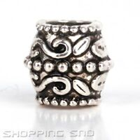 50pcs Tibetan Beads Silver Tone Spacer Fit European Charm Bracelets Big Barrel