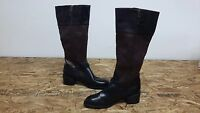 New Womens Chaps Rubi Knee High Faux Leather Boots Style 11817 Black/Brown 108M