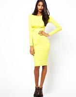 New River Island Bodycon Cutout Wrap Dress Long Sleeve Jersey Lime UK 16 DD92