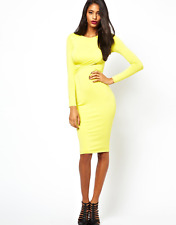 New River Island Bodycon Cutout Wrap Dress Long Sleeve Jersey Lime UK 14 DD94