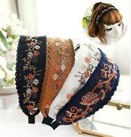 Women Lady Retro Boho Embroidery Cotton Wide Hair Headband Head Wrap Band hoop