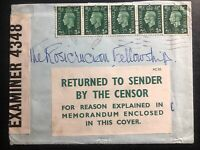 1940s England Returned To Sender By Censor Cover To Usa