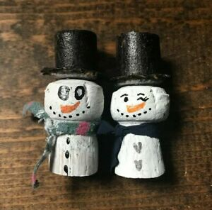 Handmade Champagne Cork Christmas Decoration-Painted-Snowman Couple-Upcycled