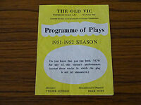 1950s Advertising Leaflet: The Old Vic Theatre: Programme of Plays 1951/52