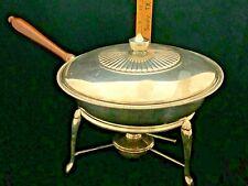"Silverplate 11"" Chafing Dish, Burner, Stand, Wood Handle Elegant"