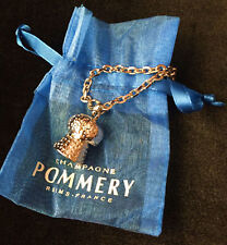 POMMERY Champagne CORK KEYRING CHARM Silver Tone METAL New in Voile Bag