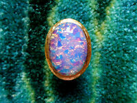 Kenneth Jay Lane Hammered Satin Gold Pink Resin Opal Adjustable Ring 5 - 9