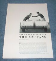 """1962 Mustang I Concept Car Vintage Info Article """"Is It For Show, or Go?"""""""