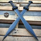 2PC 24' GLADIATOR GREEK Roman BLACK SWORD MACHETE Gladius Medieval w/ SHEATH