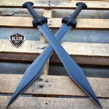"2PC 24"" GLADIATOR GREEK Roman BLACK SWORD MACHETE Gladius Medieval w/ SHEATH"