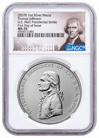 2019 Presidential Thomas Jefferson 1 oz Silver Matte Medal NGC MS70 FDI SKU58165