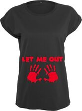 Let Me Out Ladies Funny Halloween T-Shirt Maternity Top Tee Costume Pregnancy