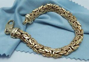 Beautiful 14K Karat Yellow Gold Flat Byzantine Link Bracelet Made in Italy