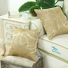 Set of 2 Gold Cushion Covers Pillow Shell Reversible Striped Circle Sofa 45x45cm