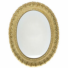 Gold Tone Oval Wall Mirror With Heart Detail and Distressed Finish 34 x 26 cm