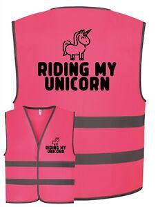 Kids Equine Horse RIDING MY UNICORN Childrens Pink Hi Vis Safety Vest