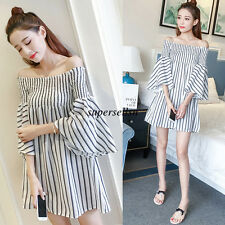 Korean Fashion Women Chiffon Summer Evening Party Loose Tunic A Line Short Dress