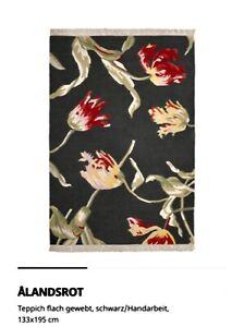 IKEA ALANDSROT ÄLANDSROT schöner Teppich 100% Wolle Handarbeit 133 x 195 NEU OVP