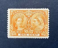 Canadian Stamp, Scott #51 1c Jubilee Issue 1897 F/VF M/LH. Post Office fresh