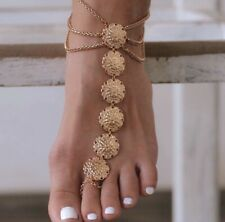 Anklet Chain Bracelet Foot Jewelry Barefoot Beach Sandal Boho Gypsy Gold