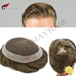French Lace Mens Toupee Lace Poly Hairpiece Skin PU Around Hair Replacement Wigs