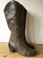 TONY BIANCO LADIES BROWN LEATHER KNEE HIGH COWBOY STYLE BOOTS UK8