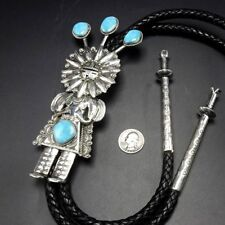 & Turquoise Kachina Bolo Tie Spectacular Navajo Hand Stamped Sterling Silver