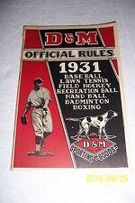 1931 D&M Sporting Goods RULES BOOKLET Baseball TENNIS Handball BOXING Hockey