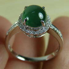 Certified Green Cabochon Jadeite 18K White Gold Diamond Ring, Old Icy Emerald  7