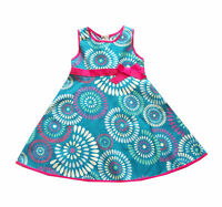 New Girls Turquoise Floral Summer Party Dress from 18 Months to 6 Years