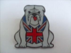 10 WHITE BRITISH BULLDOG ENAMEL PIN BADGES