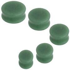 "1 Pr GIANT 7/8"" Jade Green Stone Saddle Plugs Ear 22MM Organic Double Flare"