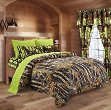 7 Pc Black Camo Comforter And Lime Sheet Set Queen Bed In Bag Camouflage Woods