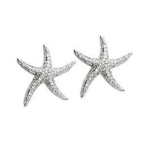 Sterling Silver Paved CZ SEA STAR Starfish Stud Statement Stud Earring