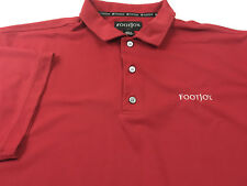 FOOTJOY mens L 3 button GOLF polo shirt RED short sleeve polyester LARGE