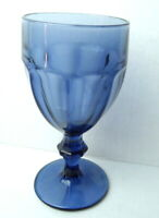 "Water Goblet Glass Libbey Dusky Blue Gibraltar Pattern 6 3/4"" Duratuff"