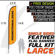 17FT Full Color Feather Single Sided Custom Flag Banners w/Fiberglass Pole kit