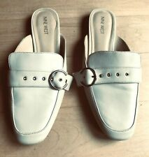NINE WEST Ivory Leather Silver Buckle Flat Loafer Mules Shoes size 9M