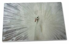 White Feathers Peacock Extra Large Toughened Glass Cutting Choppin Ab-pe19gcbl
