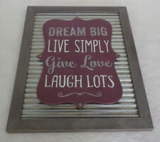 "Dream Big Love Laugh Lots Metal & Wooden Wood Sign Home Decor 15.5"" x 12"""