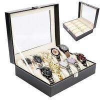 Watch Box Case Holder Men Organizer Storage Display Jewelry Leather Luxury
