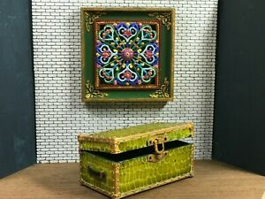 Dollhouse miniature hand painted travel luggage trunk chest - 1:12 scale