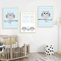 Woodland Animal Owl Nursery Canvas Poster Cartoon Wall Art Print Kids Room Decor
