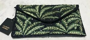 NEW CLEMENTE RIBIERO BAG CLUTCH SEQUINS BLACK GREEN LEAVES