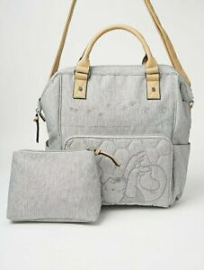 Disney Winnie the Pooh Grey Baby Changing Bag/Backpack with Handles_Vegan