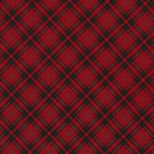 LET IT SNOW RED DIAGONAL PLAID CHECK TARTAN CHRISTMAS QUILTING FABRIC NO. 33
