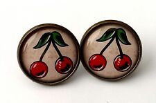 Cherry Earrings Antique Bronze Studs Jewellery Tattoo Rockabilly Kitsch Retro BN