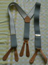 Button braces grey unisex adjustable with leather end button suspenders