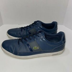 Lacoste Europa Men's Sneakers LCR BRZ Lace up Leather Navy Blue Size 11.5