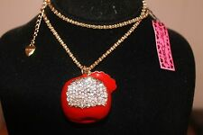 """Apple Necklace, Betsey Johnson  GP Clear Crystals, Red Enamel 26"""""""